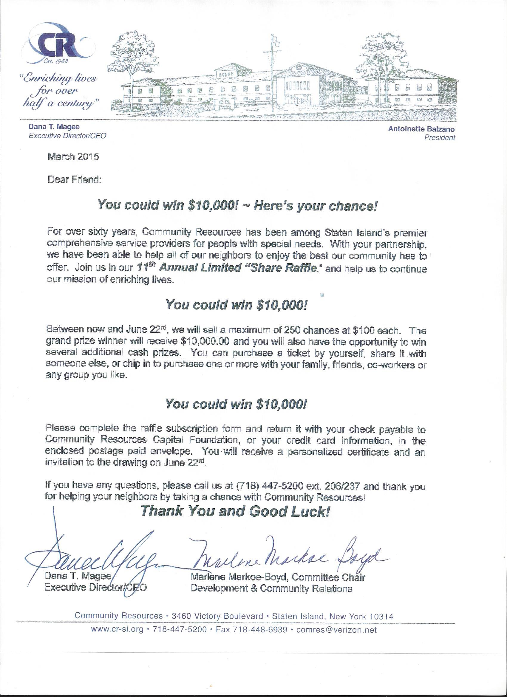 Community Resources 11th Annual Share Raffle You could be the – Prize Winner Letter Template
